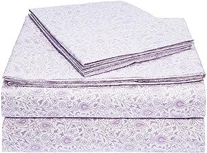 AmazonBasics Microfiber Sheet Set - Queen, Lavender Paisley