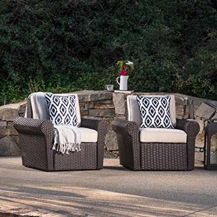 Amazon.com: Christopher Knight Home Millie Outdoor Dark Brown Wicker Club  Chairs With Beige Water Resistant Cushions (Set Of 2): Kitchen U0026 Dining