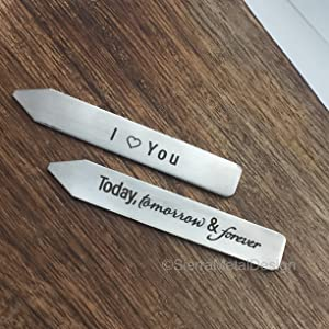I Heart You Today Tomorrow and Forever Collar Stays Husband Collar Stays For Him Mens Gift Engraved Wedding Day Gift Valentine Day Boyfriend