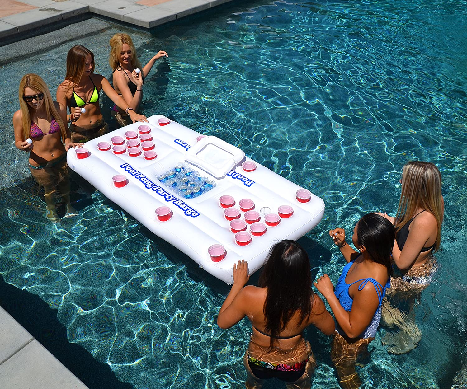 Amazon.com : GoPong Pool Party Barge Floating Beer Pong Table With Cooler,  White, 6 Feet : Pong Games : Sports U0026 Outdoors