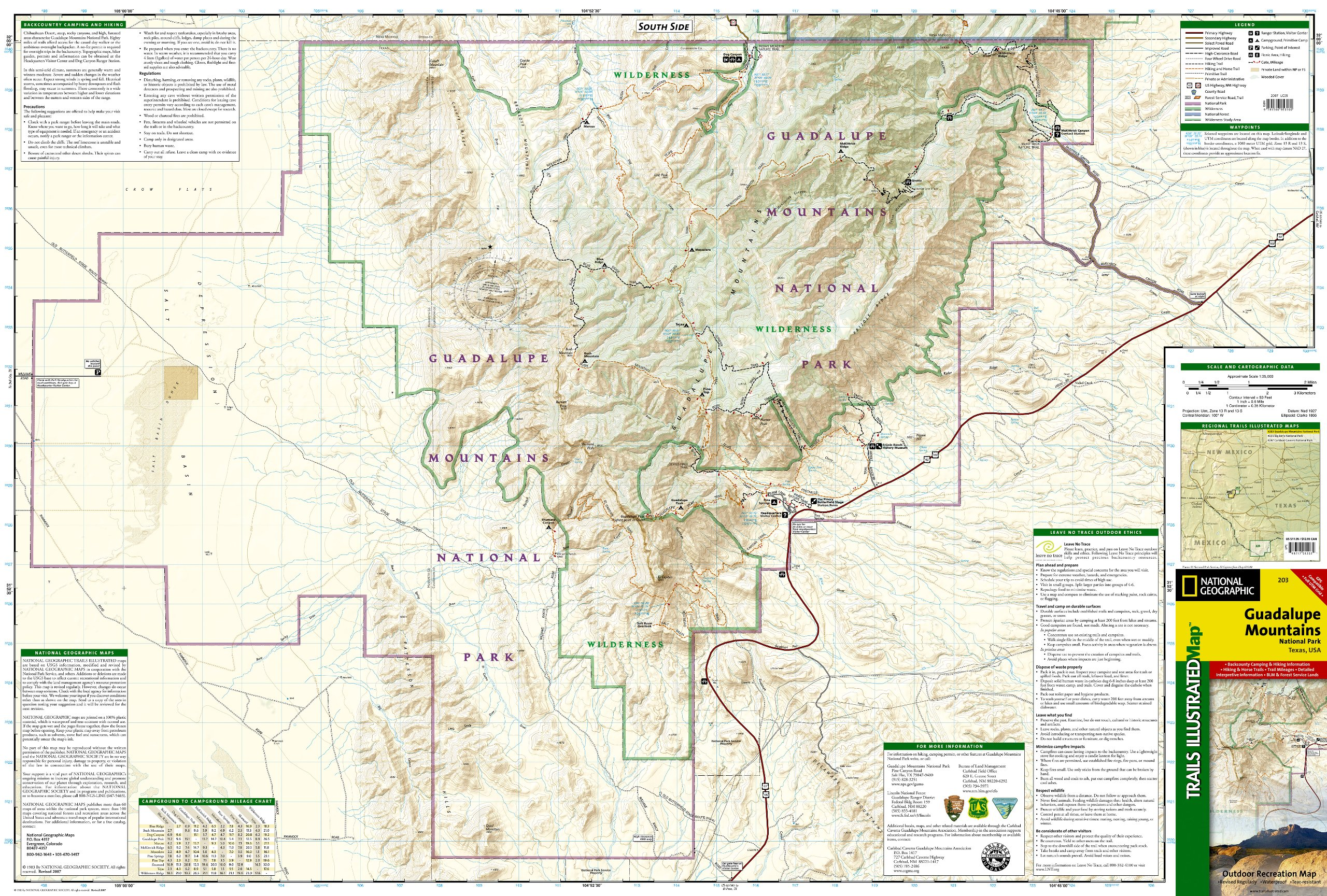 Guadalupe Mountains National Park Map Guadalupe Mountains National Park (National Geographic Trails