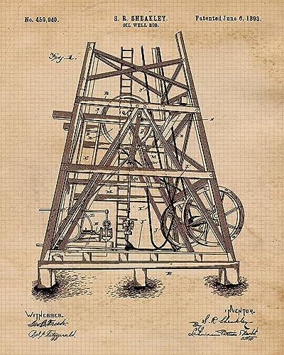 Oil Rig Patent; Wood Wall Art Wedding Gift Groomsmen Gift Rustic Home Decor Bridesmaid Gift Wood Burning Art