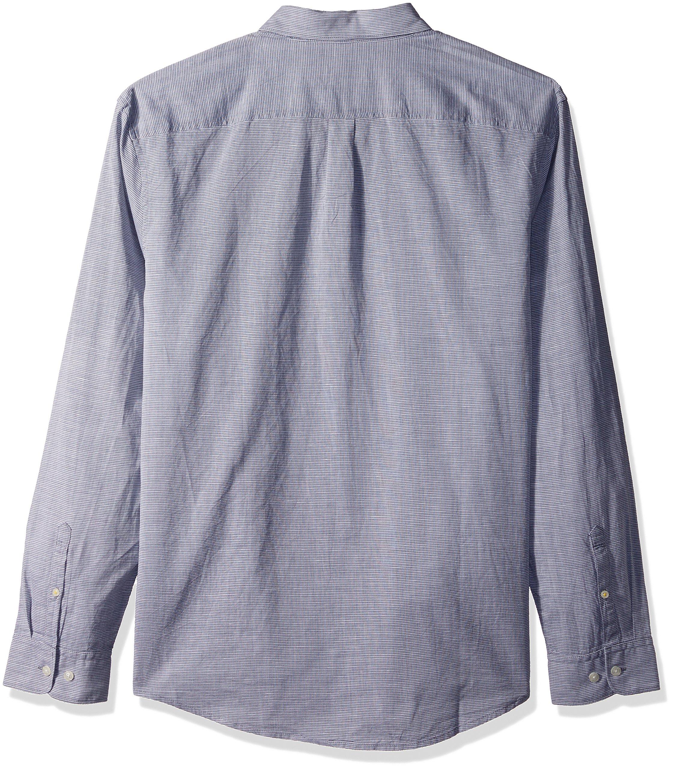 Original Penguin Men's Long Sleeve Slub Linen Feeder Stripe Woven Shirt, Dark Sapphire, Large by Original Penguin (Image #2)