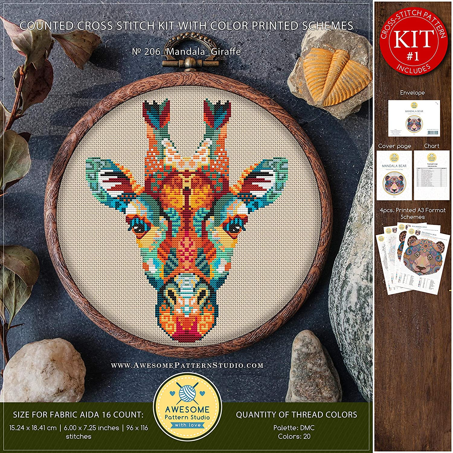 Funny Animals Stitching Embroidery Kits Needlepoint Mandala Giraffe #K206 Embroidery Cross Stitch Kit Stitch Patterns Stitch Design