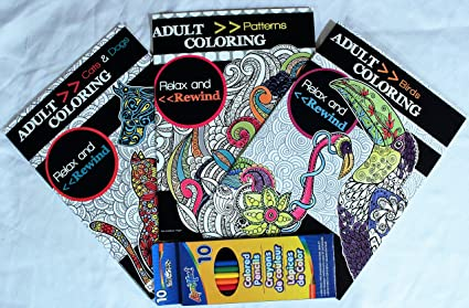 Amazon Com Bendon Relax Rewind Adult Coloring Books W 10 Pack Non