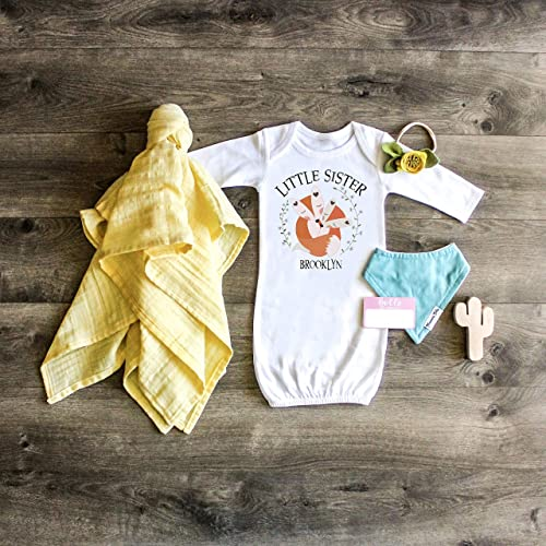 70af1ad2f7d58 Amazon.com: Little Sister Gown Newborn Gown Personalized Baby Sister Outfit  Take Home Outfit Custom Gift Boho Little Sister Outfit Newborn Outfit Baby  ...