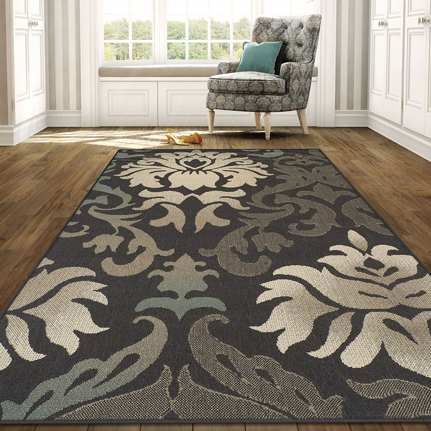 Superior Lowell Collection 2' x 3' Area Rug, Indoor/Outdoor Rug with Jute Backing, Durable and Beautiful Woven Structure, Grey, Beige, and Teal Floral 2X3RUG-LOWELL