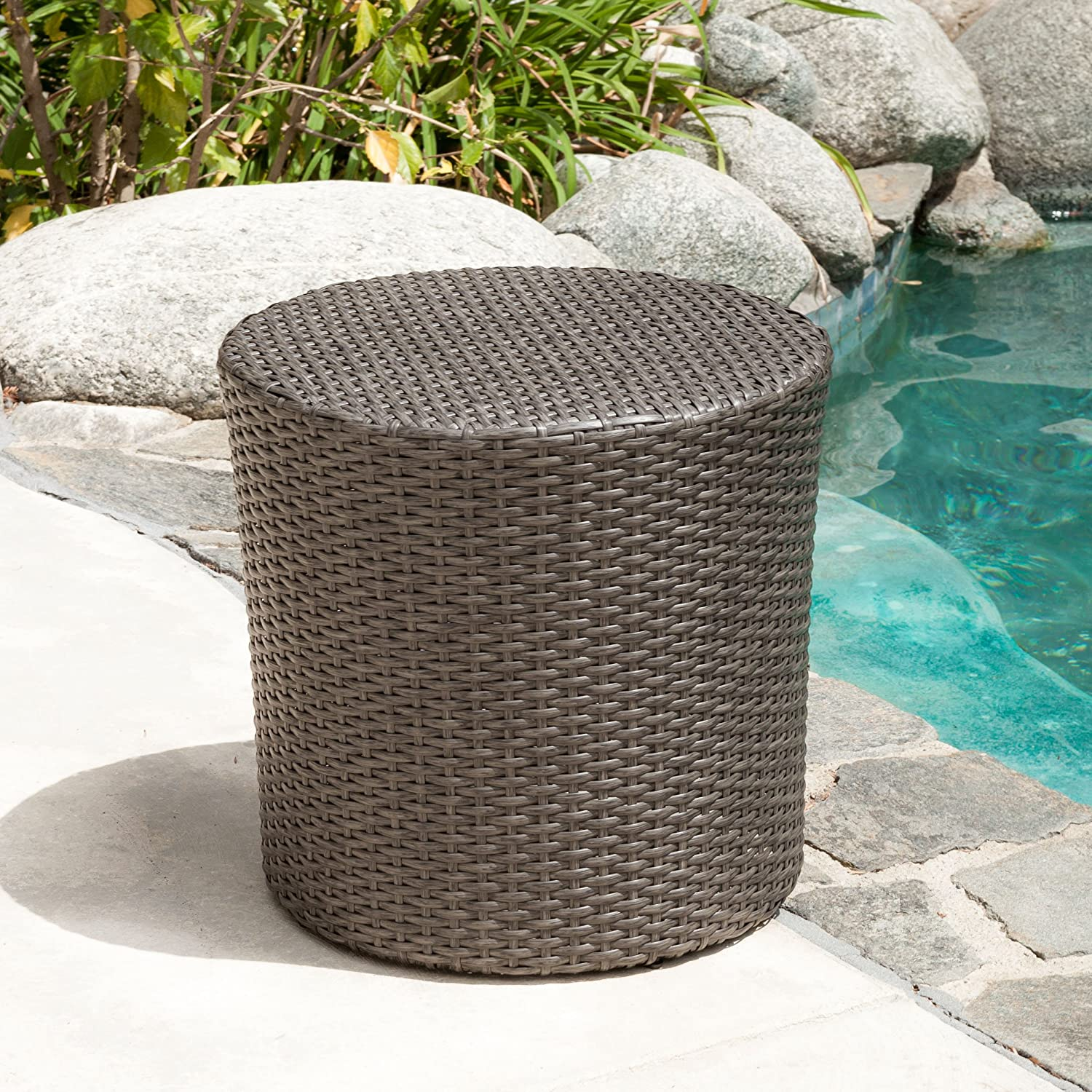 Overton Outdoor Grey Wicker Barrel Side Table