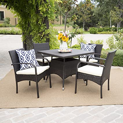 Amazoncom Carmela 5 Piece Outdoor Patio Furniture Wicker Dining