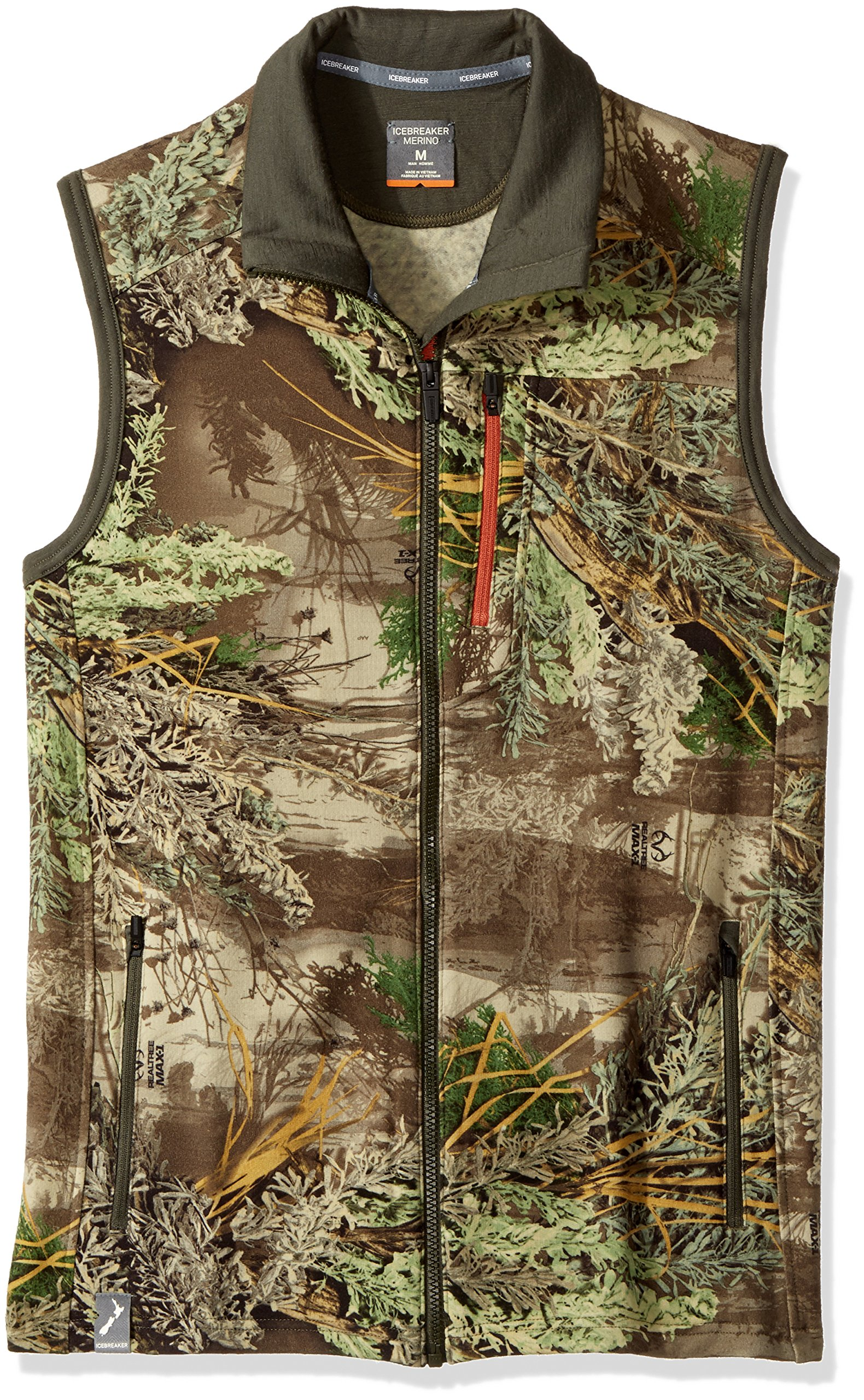 Icebreaker Men's Sierra Vest, Real Tree Max/Cargo/Copper, Large by Icebreaker Merino