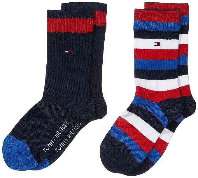 Tommy Hilfiger TH Kids Basic Stripe Sock Pack de 2 Calcetines para Niños, Azul (