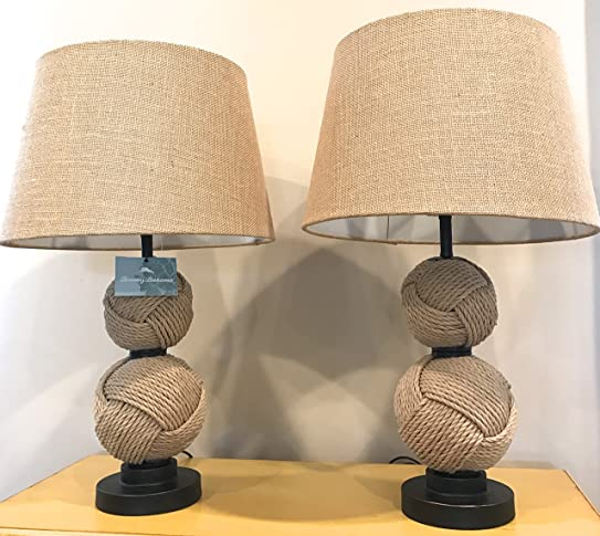 Wonderful Tommy Bahama Natural Double Woven Rope Knot Spheres Table Lamps (Pair Of  Two)