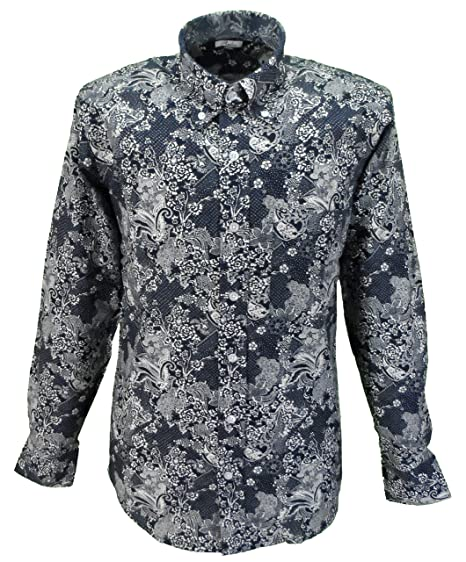 2243914671c Relco Mens Navy White Paisley Long Sleeved Button Down Shirt  Amazon.co.uk   Clothing