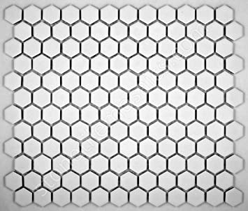 Hexagon White Porcelain Mosaic Tile Matte Look 1x1 Inch. Hexagon White Porcelain Mosaic Tile Matte Look 1x1 Inch   Ceramic