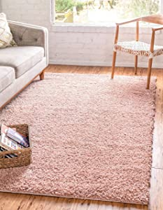 Unique Loom Davos Shag Collection Contemporary Soft Cozy Solid Shag Dusty Rose Area Rug (5' 0 x 8' 0)