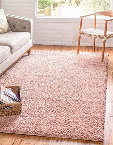 Unique Loom Davos Shag Collection Contemporary Soft Cozy Solid Shag Dusty Rose Area Rug 5' 0 x 8' 0