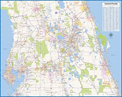 Map Of Central Florida Roads.Amazon Com Central Florida Laminated Wall Map 52 Wx42 L