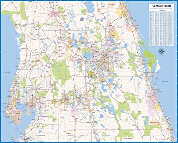 Map Central Florida.Amazon Com Central Florida Laminated Wall Map 52 Wx42 L Office