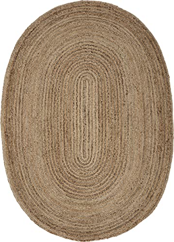 LR Resources Rug Jute LR12036-NGY79OV Natural Gray Oval 7 x 9 ft Indoor, 7 x 9