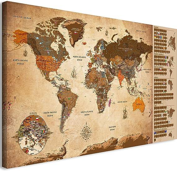 murando Mapamundi para rascar Mapa Mundial 90x45 cm - Vintage Laminado (Posibilidad de Escribir y borrar) Mapa para rascar con Banderas Mapa del Mundo Macionales k-A-0228-o-c: Amazon.es: Juguetes y juegos