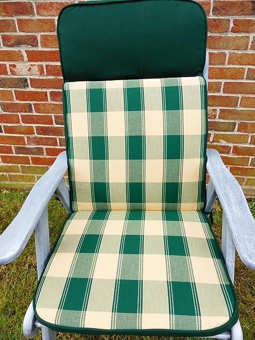 Muebles de jardín Cojines - verde y crema de Asiento reclinable amortiguador y espalda 116 x 49 x 6 cm sillones de jardín: Amazon.es: Jardín