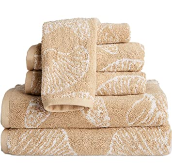 6 Piece Beige Beach Themed Towel Set, Driftwood Jacquard Sea Shell Pattern  Starfish Nautical Ocean