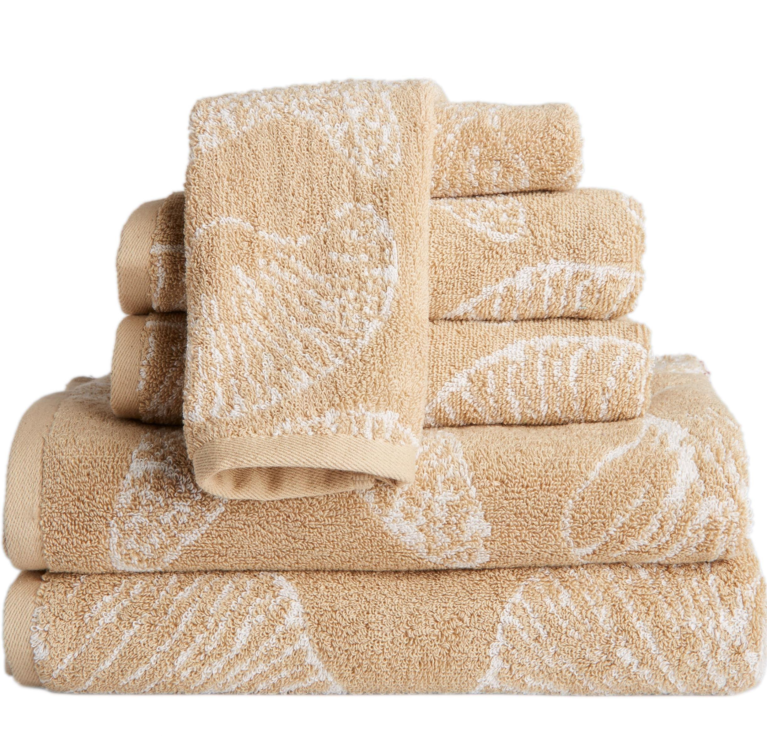 MP 6 Piece Beige Beach Themed Towel Set, Driftwood Jacquard Sea Shell Pattern Starfish Nautical Ocean Coastal Soft Light Beaches Bath Towels Shower Bathtub, Cotton
