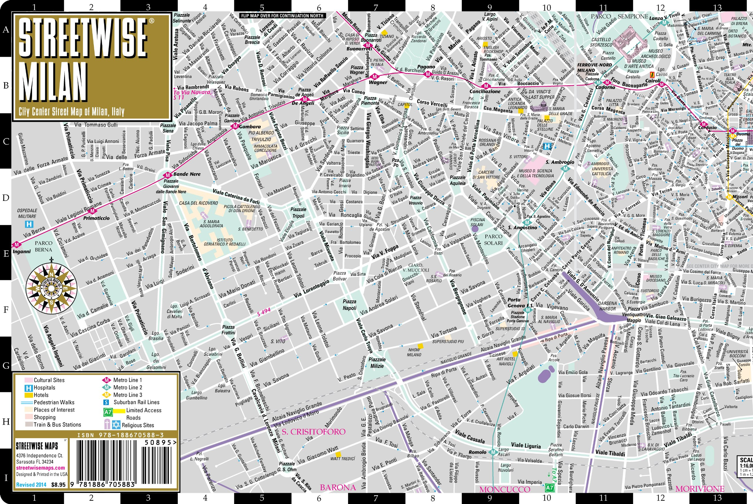 Streetwise Milan Map - Laminated City Center Street Map of Milan ...
