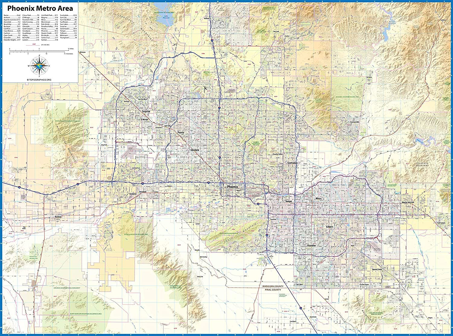 Amazon.com : Phoenix Metro Area Laminated Wall Map (56