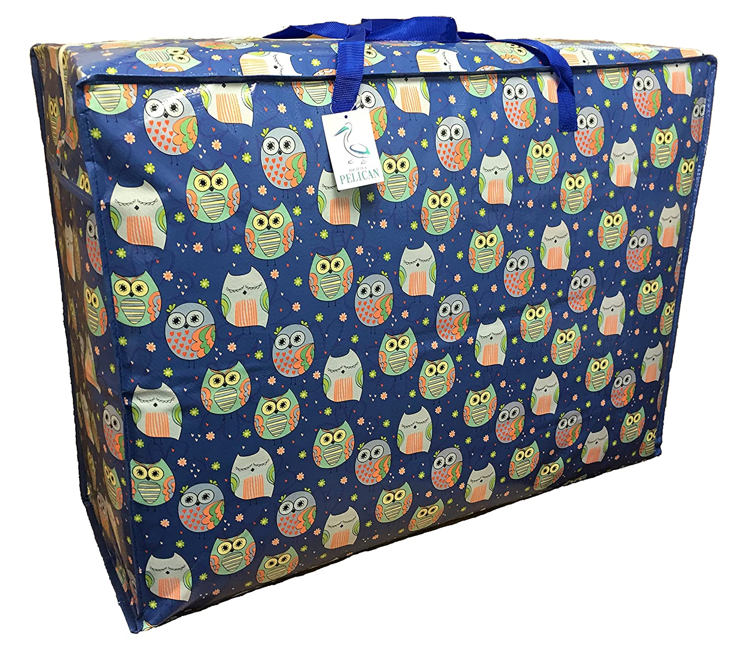 Pelican EXTRA Large 115 litre Storage bag. Blue with sleepy Owls pattern. Strong and durable zipped bag.