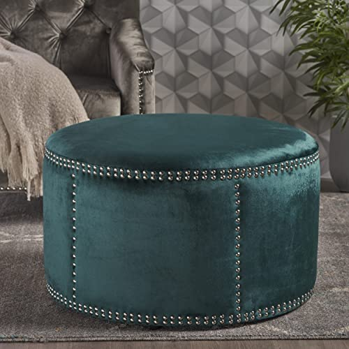 Christopher Knight Home Jesper Round Velvet Ottoman Studded Accents in Teal