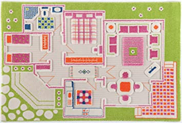 Attractive IVI 3D Play Rugs, Playhouse Green, 39x59 Inches