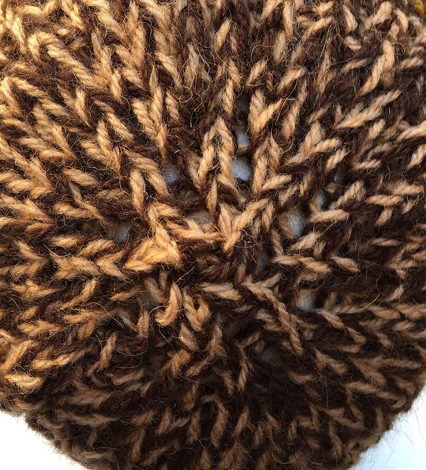Caramel /& Chocolate Knitted by Hand Alpaca Blend Hat for Boys and Girls
