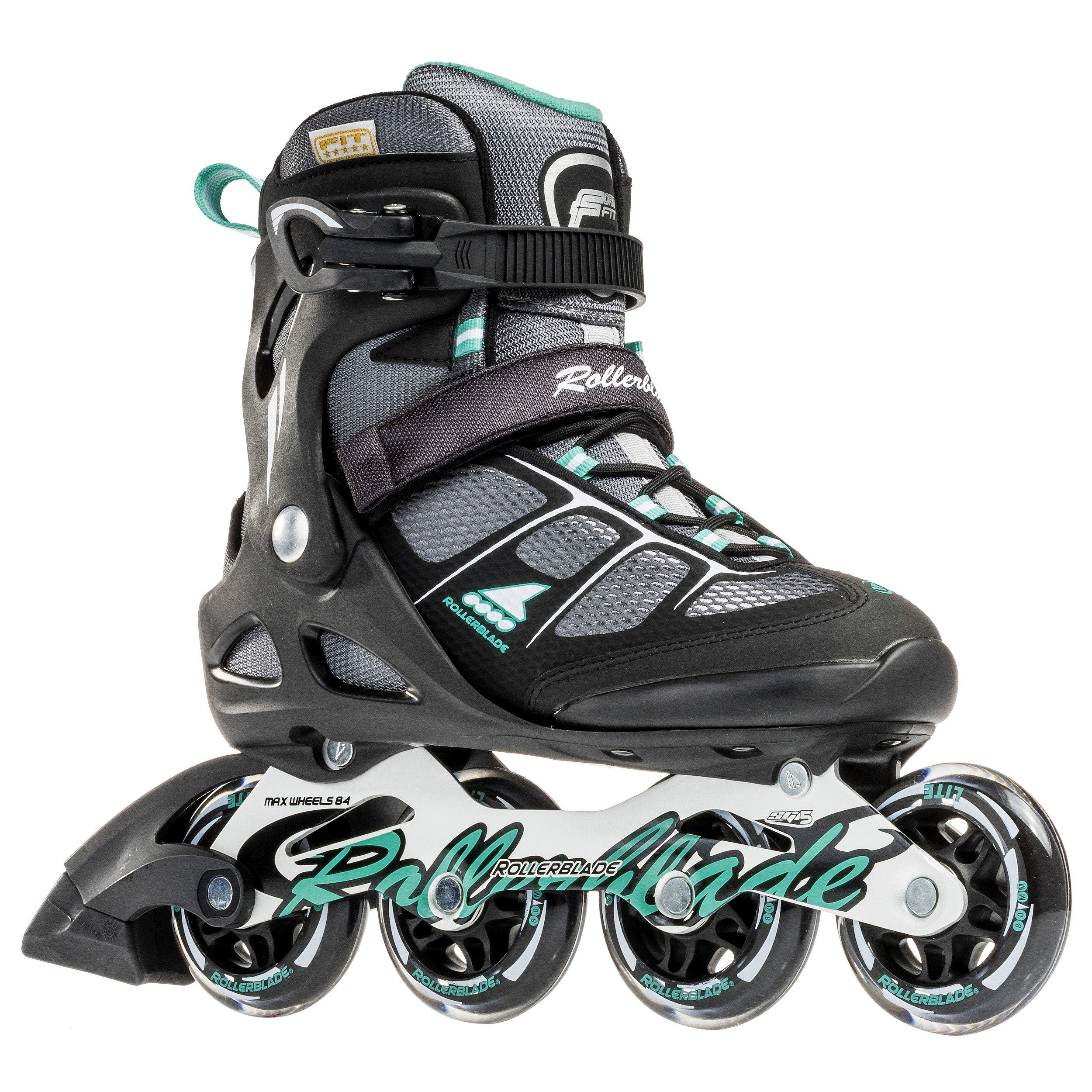 Rollerblade Macroblade 80 Alu 16 All Purpose Skate, Black/Light Green, US Size 6