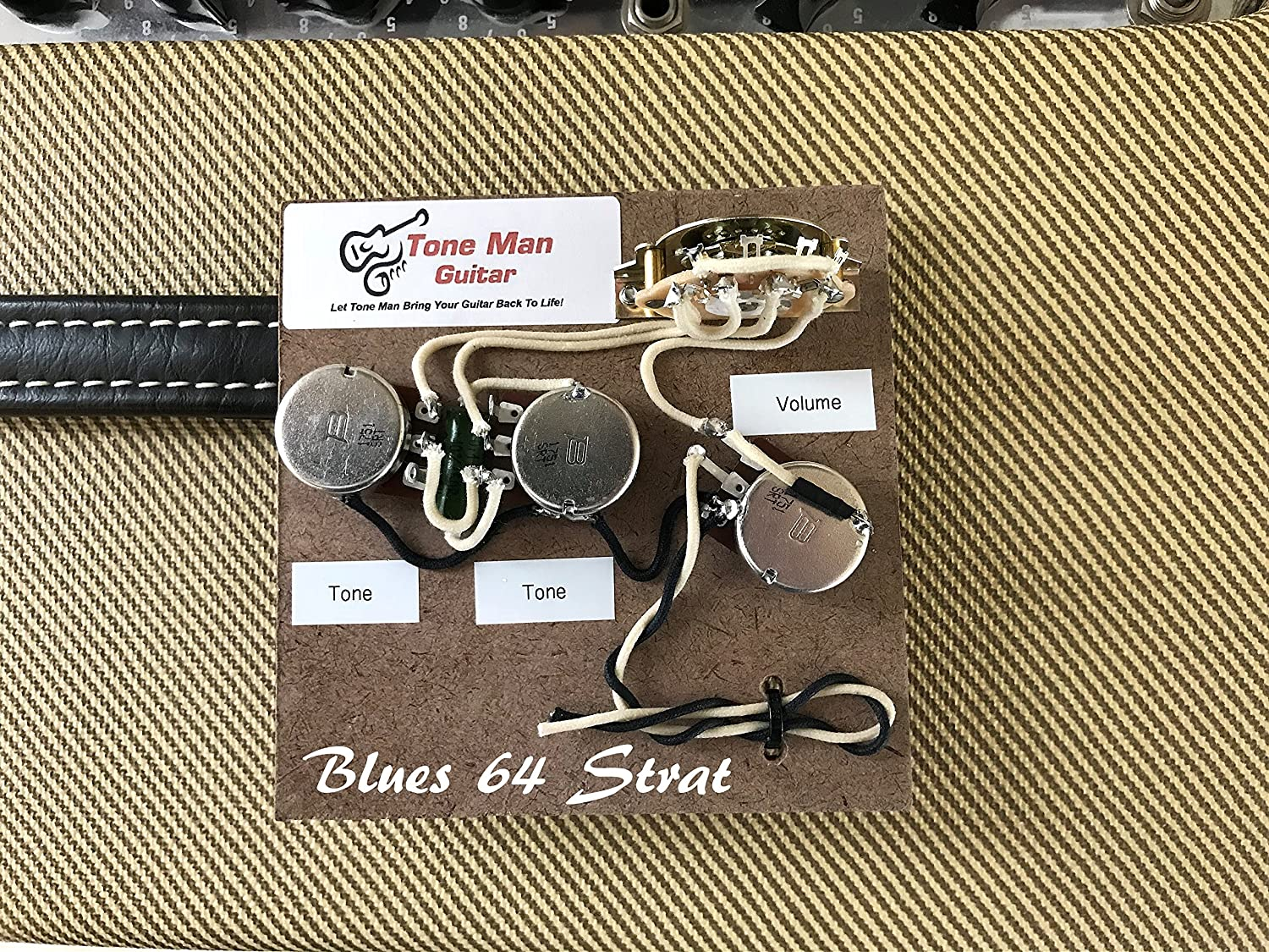 The Blues 64 Sound Strat Prewired Wiring Upgrade Kit For 2 Tone Caps Fender Stratocaster Musical Instruments