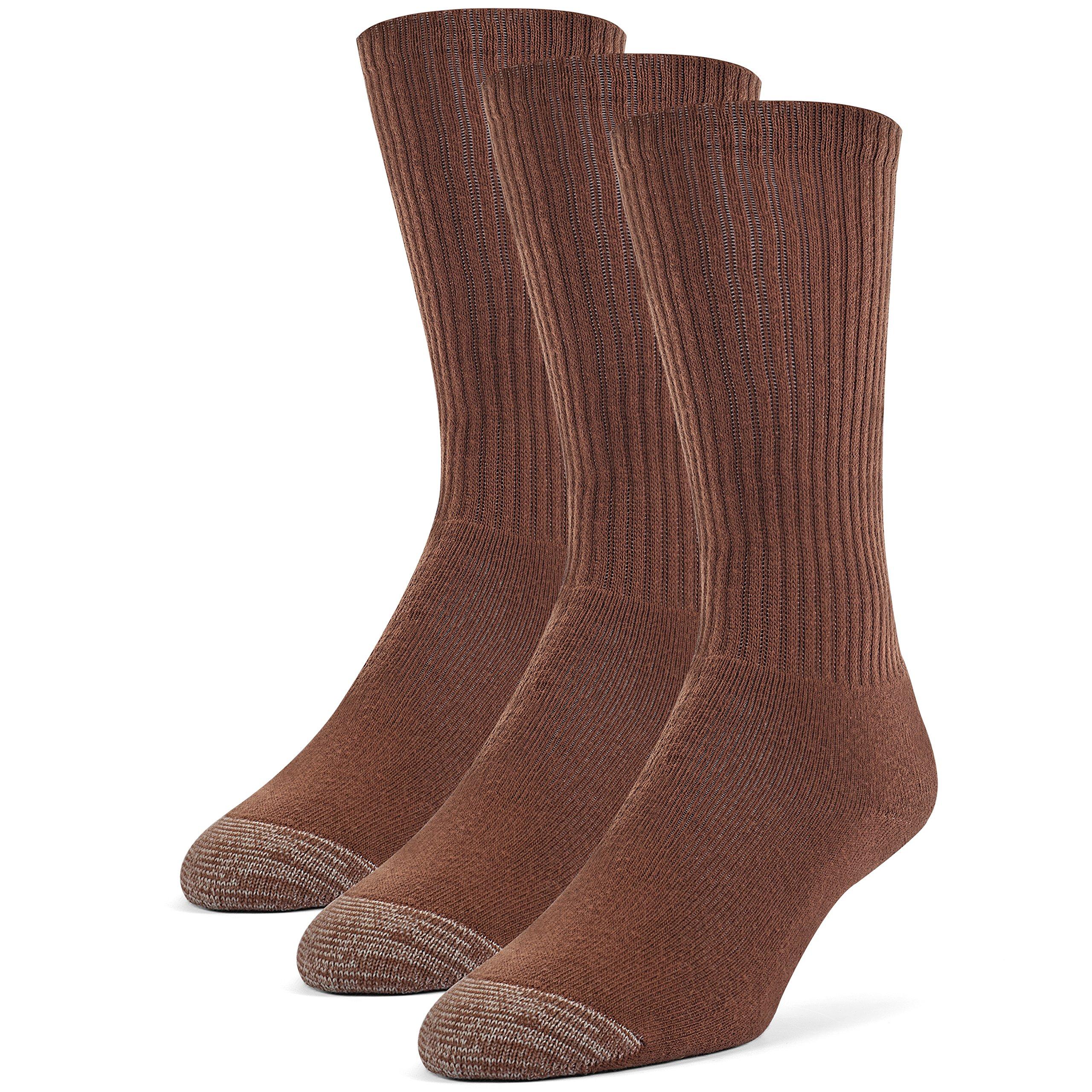 Galiva Men's Cotton Extra Soft Crew Cushion Socks - 3 Pairs, Medium, Brown