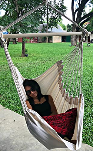 Large Brazilian Hammock Chair by Hammock Sky – Cotton Weave – Extra Long Bed – Hanging Chair for Yard, Bedroom, Porch, Indoor Outdoor Natural