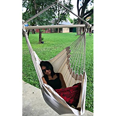 Hammock Sky Large Brazilian Hammock Chair Quality Cotton Weave for Superior Comfort & Durability - Extra Long Bed - Hanging Chair for Yard, Bedroom, Porch, Indoor/Outdoor (Natural)
