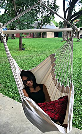 Large Brazilian Hammock Chair by Hammock Sky – Quality Cotton Weave for Superior Comfort Durability – Extra Long Bed – Hanging Chair for Yard, Bedroom, Porch, Indoor Outdoor Natural