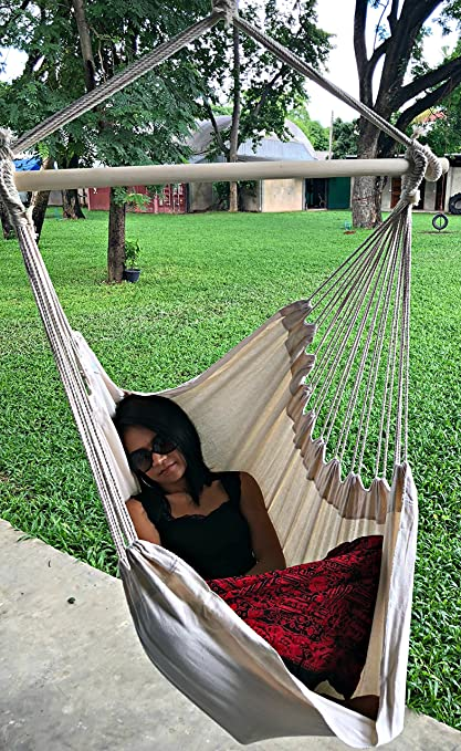 Astonishing Large Brazilian Hammock Chair By Hammock Sky Cotton Weave Extra Long Bed Hanging Chair For Yard Bedroom Porch Indoor Outdoor Natural Unemploymentrelief Wooden Chair Designs For Living Room Unemploymentrelieforg