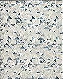 Rivet Modern Geometric Triangle Wool Rug, 8' x 10', Blue Ivory