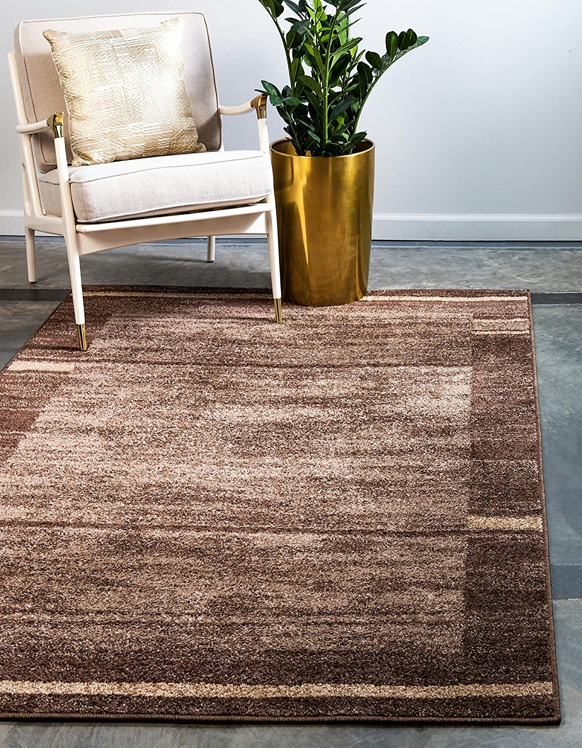 Unique Loom Autumn Collection Casual Border Rustic Warm Toned Brown Area Rug (8' 0 x 10' 0)