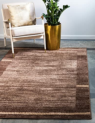 Unique Loom Autumn Collection Casual Border Rustic Warm Toned Brown Area Rug 5' 0 x 8' 0
