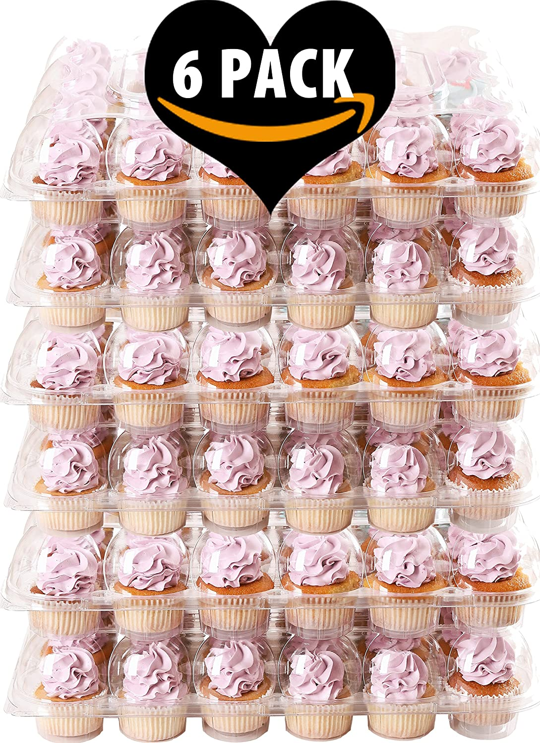 (6 Pack) Fill'nGo Carrier Holds 24 Standard Cupcakes - Ultra Sturdy Cupcake Boxes | Tall Dome Detachable Lid | Clear Plastic Disposable Containers | Storage Tray | Travel Holder | Also Regular Muffins Cakes of Eden