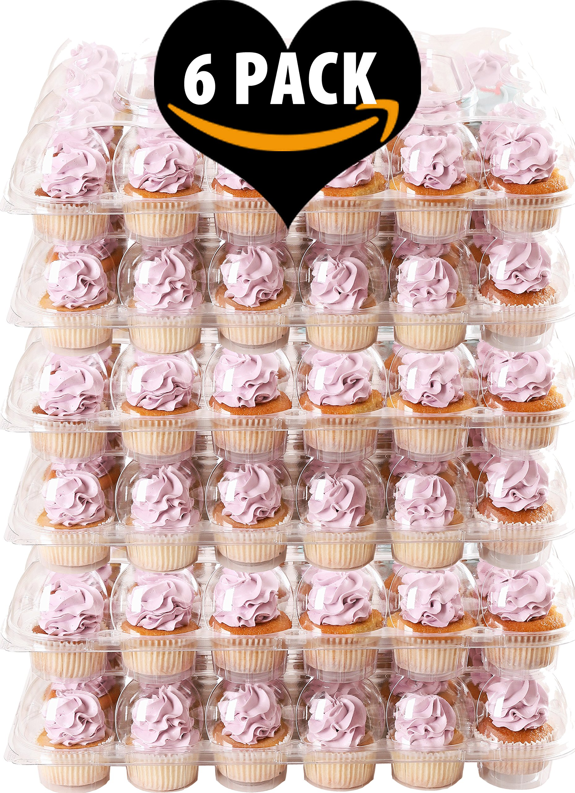 (6 Pack) Fill'nGo Carrier Holds 24 Standard Cupcakes - Ultra Sturdy Cupcake Boxes | Tall Dome Detachable Lid | Clear Plastic Disposable Containers | Storage Tray | Travel Holder | Also Regular Muffins by Cakes of Eden (Image #1)