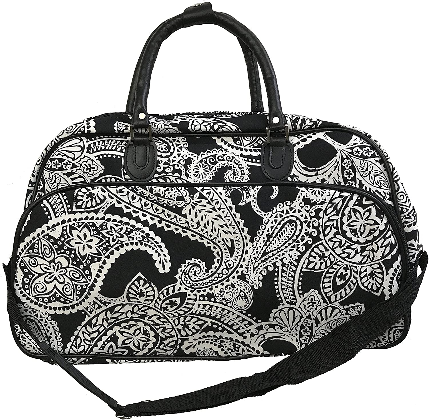 Uni Collections 21 Inch Duffel Bag Paisley Print-Black