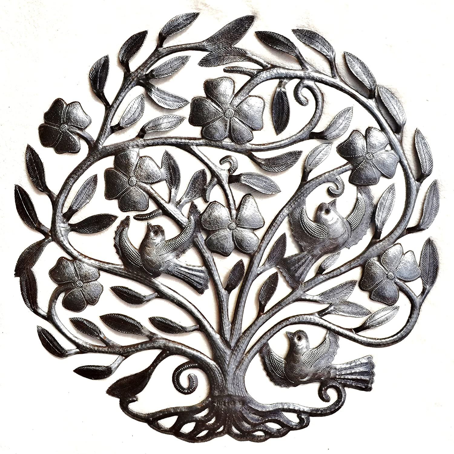 """Tree of life with Flowers, Nature Inspired Metal Wall Art, Hang indoor or outdoors 22.5"""" X 23"""""""