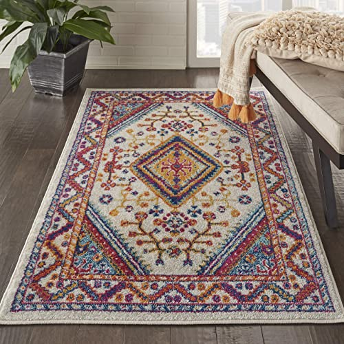 Nourison Persian Vintage 3 x 5 Bohemian Style Area Rug, Ivory Multi 3 3 X5 3