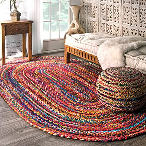 Beautiful Handwoven Braided Pure Jute with Red Color Boundary Oval Shape Design Rugs Home Decor Beautiful Carpet Size 5 X 8 Feet