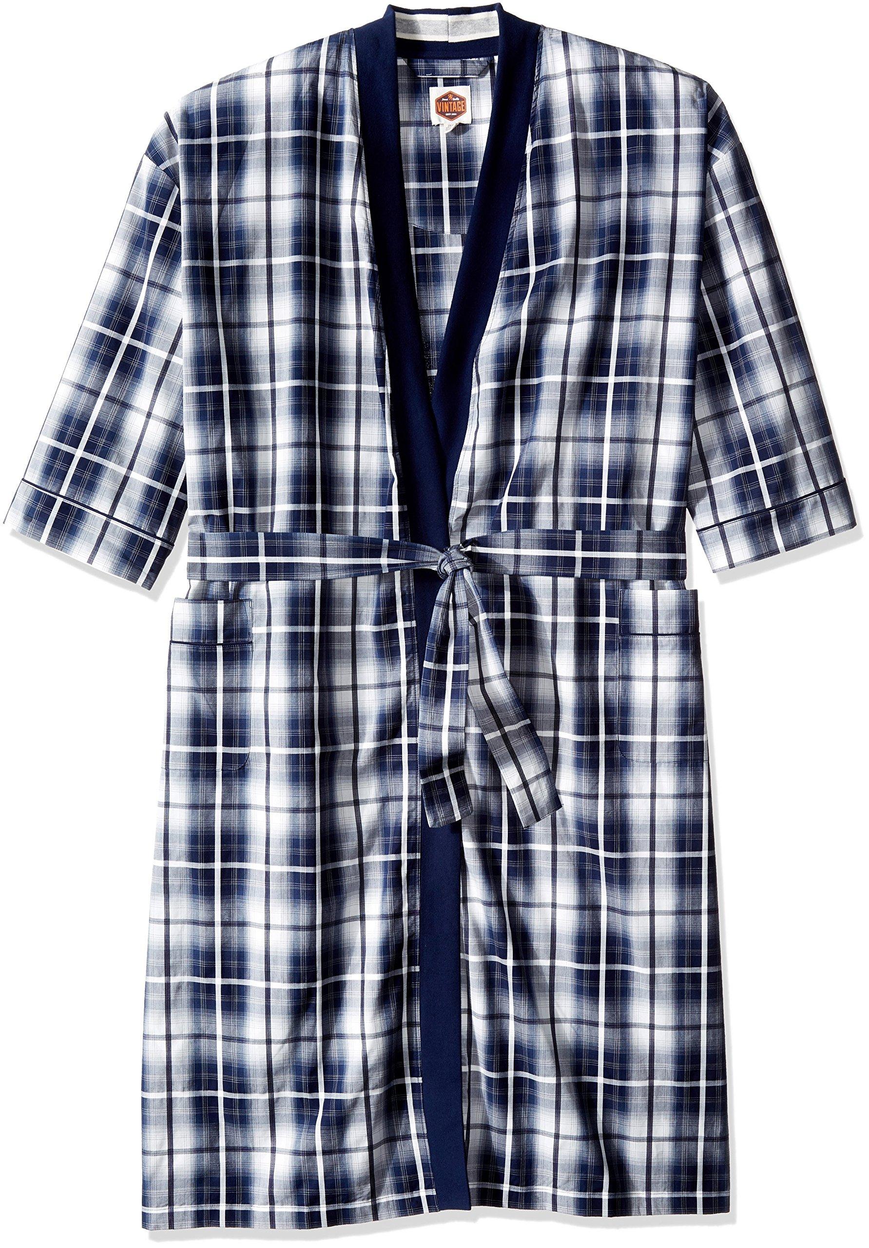 Vintage by Majestic International Men's Big-Tall Mad 4 Plaid Kimono Robe, Blue, 3X/4X